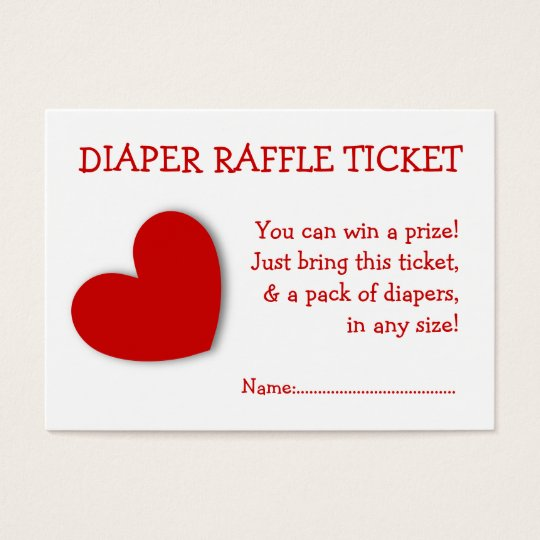 Diaper Raffle Ticket Cute Heart Gender Neutral