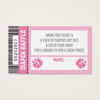 Diaper Raffle Ticket, Sports, Pom Pom, Baby Shower Business Card