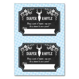 Diaper Raffle Tickets - 2 per card - Woodland