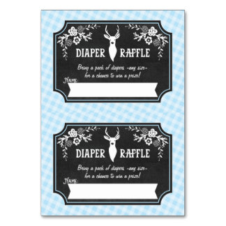 Diaper Raffle Tickets - 2 per card - Woodland Table Card