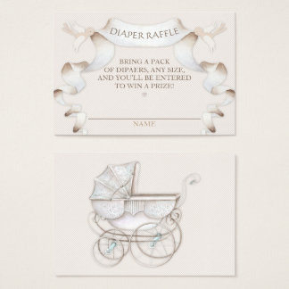 Diaper Raffle Vintage Carriage Ivory Beige Gingham