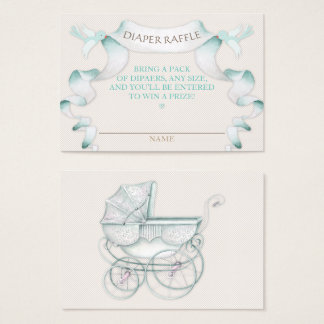 Diaper Raffle Vintage Carriage Ivory Mint Gingham