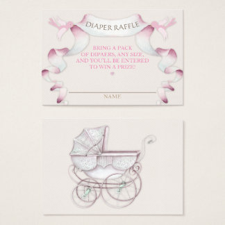 Diaper Raffle Vintage Carriage Ivory Pink Gingham