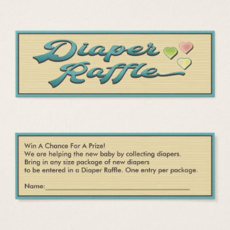 Diaper Raffle With Hearts Mini Business Card