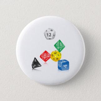Dice 6 Cm Round Badge