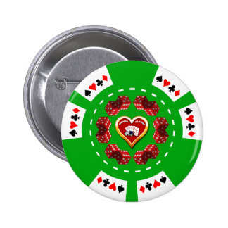 DICE AND ROYAL FLUSH POKER CHIP BUTTONS
