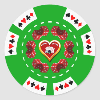 DICE AND ROYAL FLUSH POKER CHIP CLASSIC ROUND STICKER