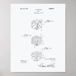 Dice Apparatus 1925 Patent Art White Paper Poster