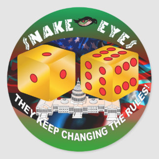 Dice-changing Rules 1R Classic Round Sticker