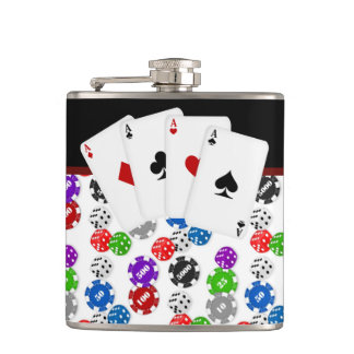 Dice Chips and Aces Poker Hip Flasks
