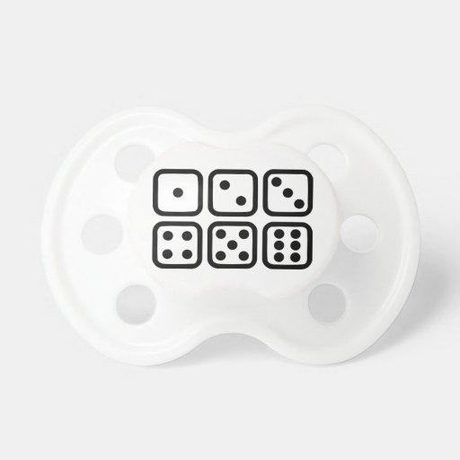 Dice gambling baby pacifiers