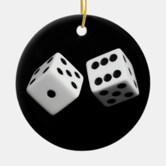 Dice in air on ornament