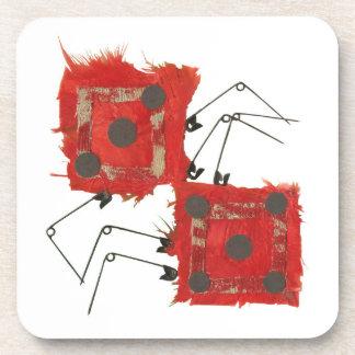 Dice Ladybug Plastic Coasters