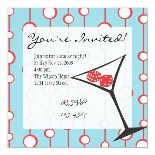 Dice Martini 5.25x5.25 Square Paper Invitation Card