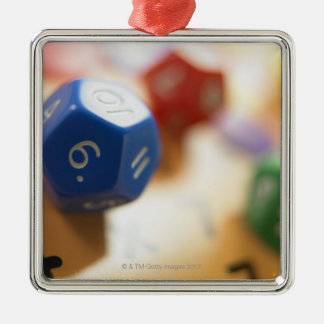 Dice on math game Silver-Colored square decoration
