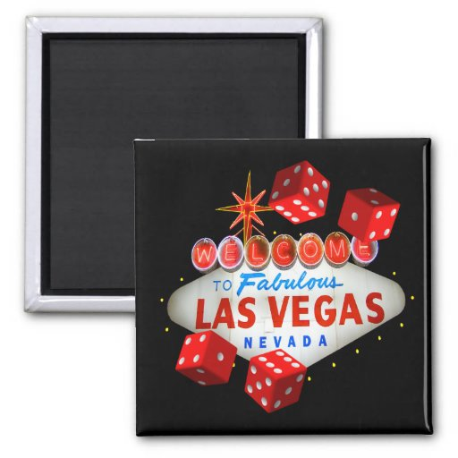Dice Players Lucky Las Vegas Magnet