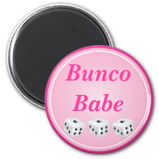 dice with pink circle customizable 6 cm round magnet