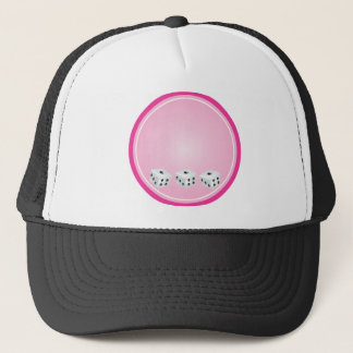 dice with pink circle customizable trucker hat