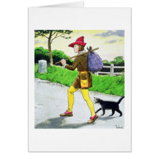 Dick Whittington (1358-1423) and his cat, from 'Pe Card