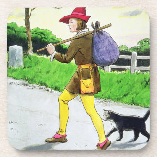 Dick Whittington (1358-1423) and his cat, from 'Pe Drink Coasters