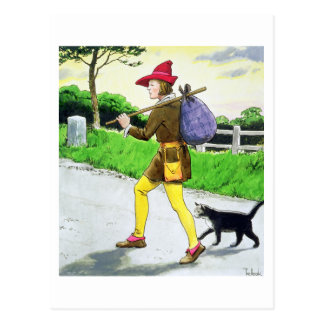 Dick Whittington (1358-1423) and his cat, from 'Pe Postcard