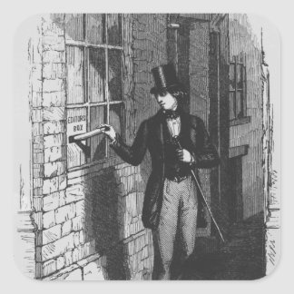 Dickens placing his first literary square sticker