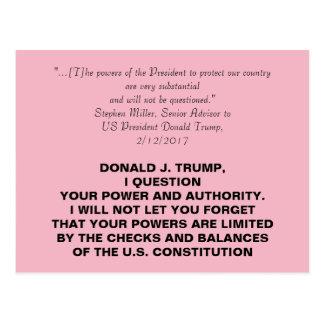 Dictator Trump Checks and Balances Resistance Postcard