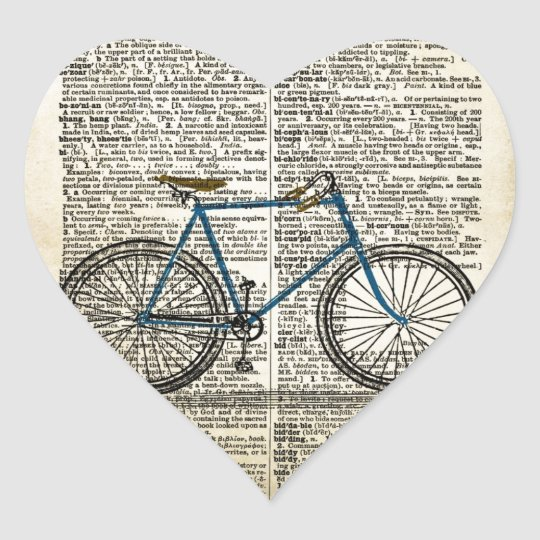 DICTIONARY Art Print Blue Bicycle Bike Vintage Heart Sticker