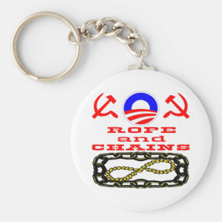 Did Obama Say Hope & Change or Rope & Chains Basic Round Button Key Ring