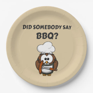 Did Somebody Say BBQ? Funny Beige BBQ Paper Plates