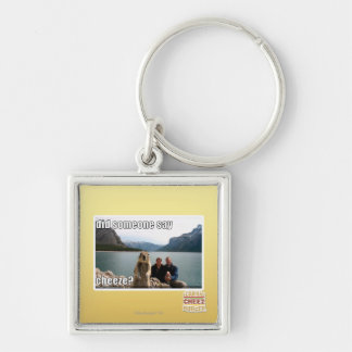 Did someone say cheeze? Silver-Colored square key ring