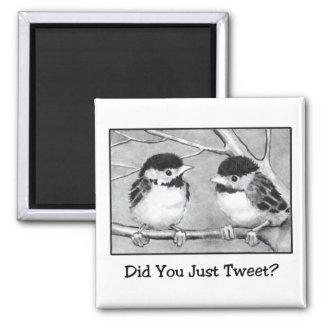 DID YOU JUST TWEET? PENCIL ART: BIRDIES SQUARE MAGNET