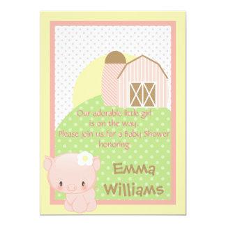 Diddles Farm Pig  Baby Shower Invitation-Pink-Blue 13 Cm X 18 Cm Invitation Card