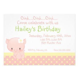 Diddles Farm Pig Birthday Invitation