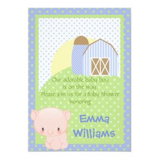"Diddles Farm Piggy Baby Shower Invitation 5"" X 7"" Invitation Card"