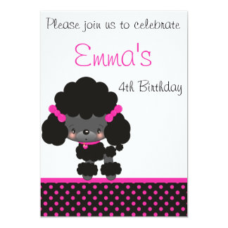 Diddles Poodle Birthday Invitation