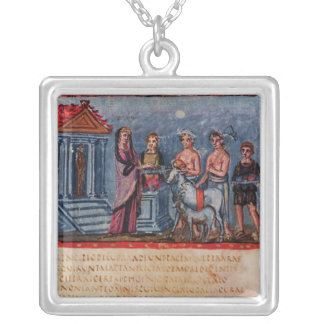 Dido making a sacrifice, from Vergilius Vaticanus Silver Plated Necklace