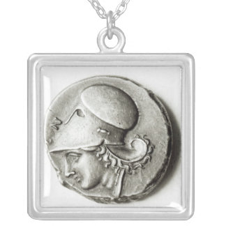 Didrachma of Heracles: obverse depicting Athena Silver Plated Necklace