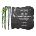 Die Cut Chalkboard Love Bird Birch Tree Wedding Custom Invitation