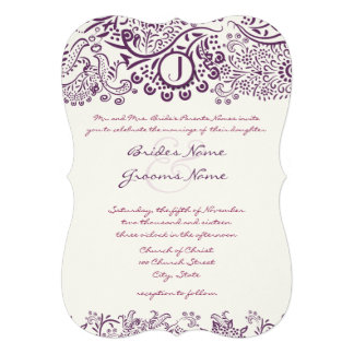Die Cut Purple Love Birds Damask Monogram Weddings Invitation