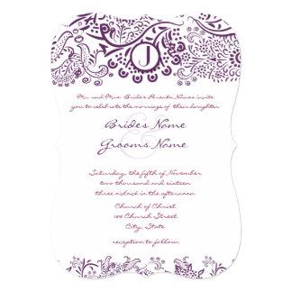 Die Cut Purple Love Birds Damask Monogram Weddings 13 Cm X 18 Cm Invitation Card