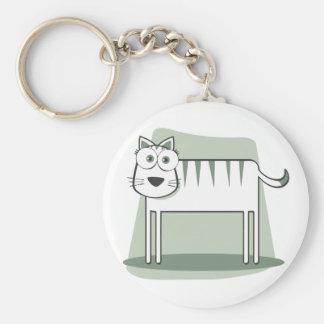 Die Katze zum Quadrat Basic Round Button Key Ring