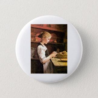 Die kleine Kartoffelschälerin Girl Peeling Potatos 6 Cm Round Badge