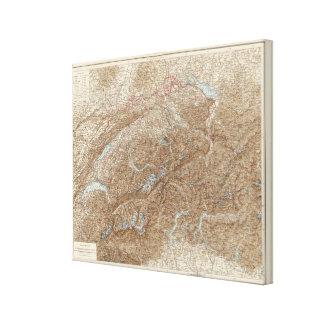 Die Schweiz,  Switzerland Atlas Map Canvas Print
