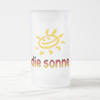 Die sonne The Sun in German Summer Vacation 16 Oz Frosted Glass Beer Mug