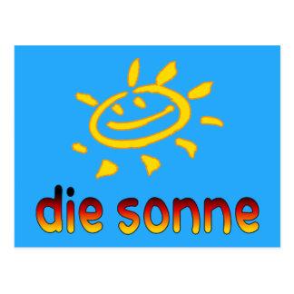 Die sonne The Sun in German Summer Vacation Postcard