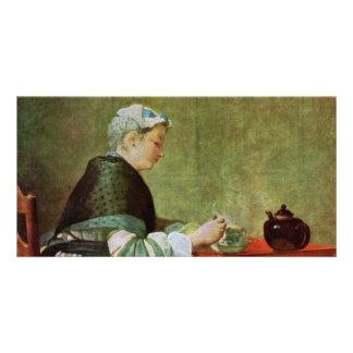 Die Teetrinkerin By Chardin Jean-Baptiste Siméon ( Photo Card