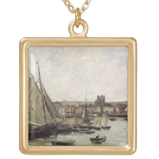 Dieppe, 1875 (oil on panel) gold plated necklace