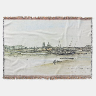 Dieppe France Coast Boats Ocean Sea Throw Blanket