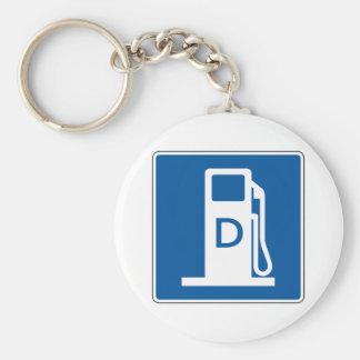 Diesel Gas Street Sign Basic Round Button Key Ring